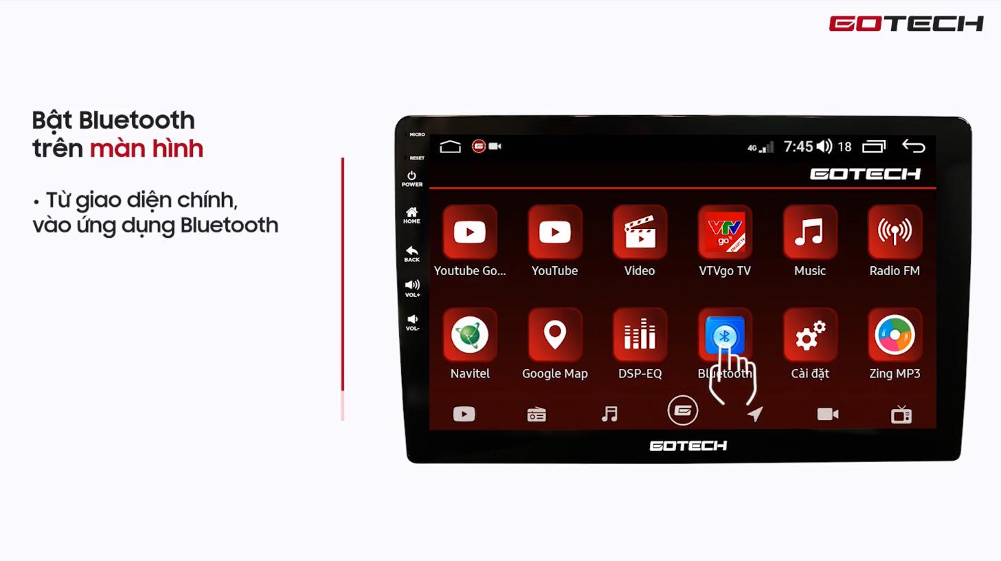 Hướng dẫn kết nối Bluetooth với điện thoại trên màn hình Gotech