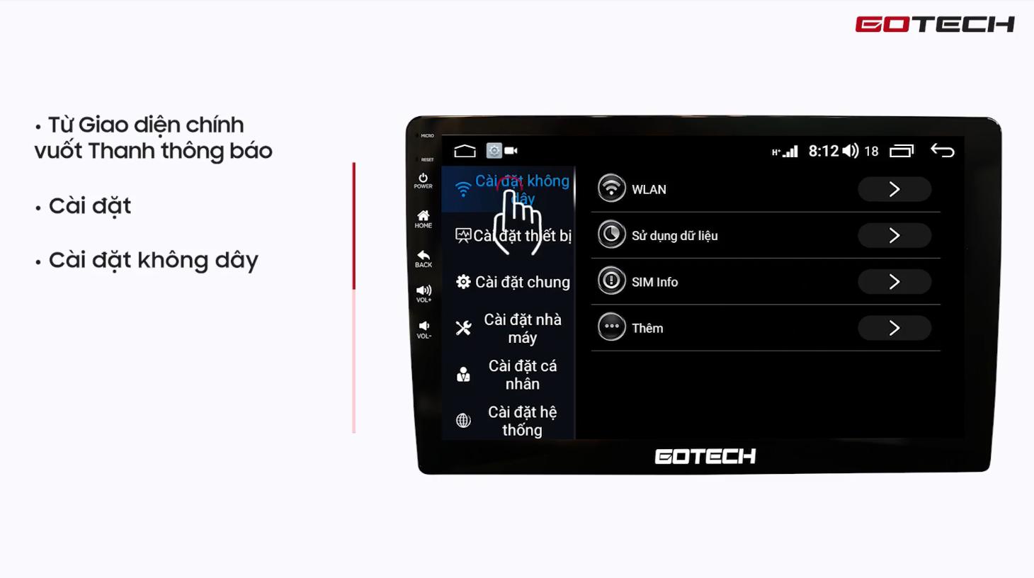 Hướng dẫn kết nối 4G LTE và phát Wifi trên màn hình Gotech