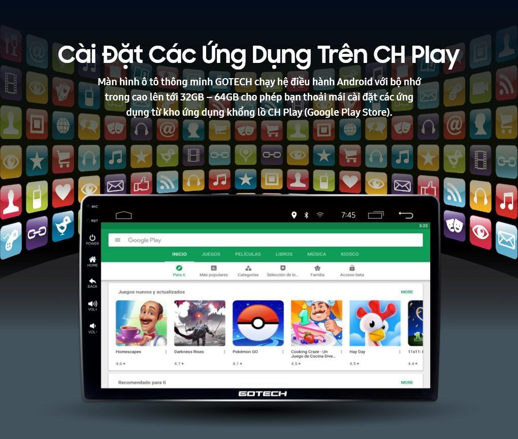Cài đặt ứng dụng từ kho ứng dụng CH Play lên màn hình GOTECH