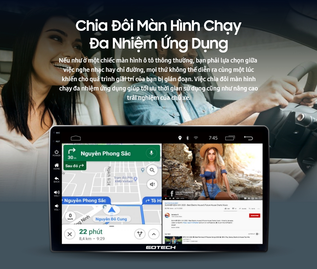 Chia đôi màn hình chạy đa nhiệm ứng dụng trên màn hình GOTECH