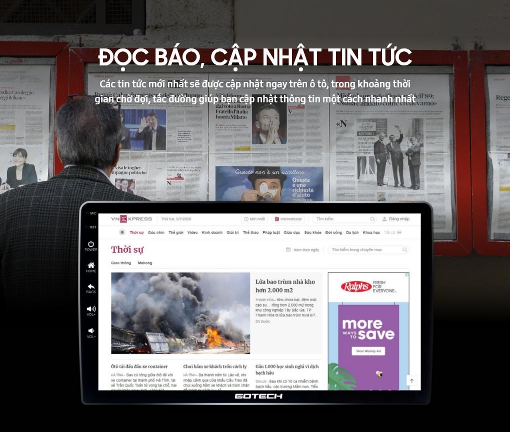 Đọc tin tức trên màn hình ô tô thông minh GOTECH nhờ kết nối internet 4G
