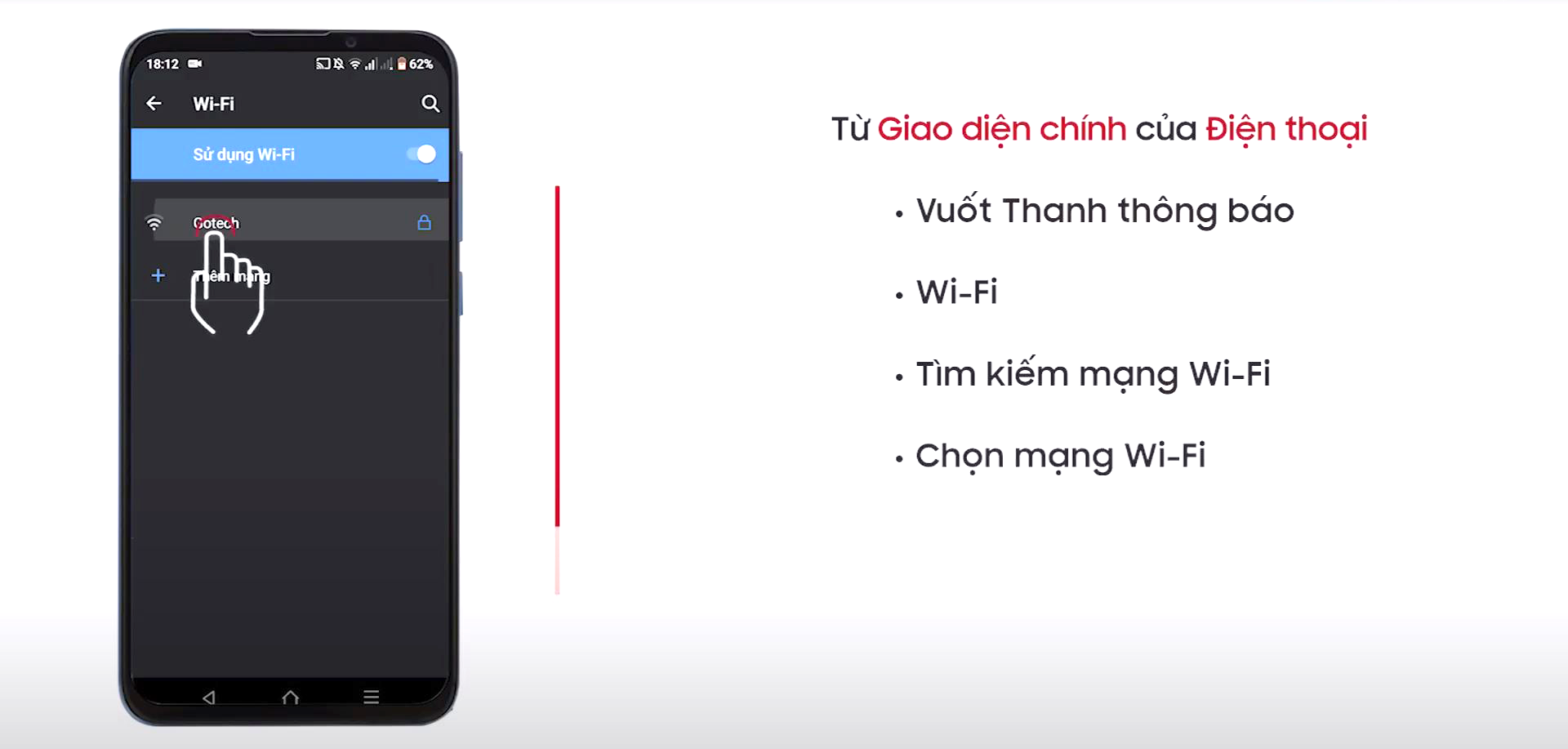 Kết nối wifi trên điện thoại từ mạng wifi của màn hình GOTECH