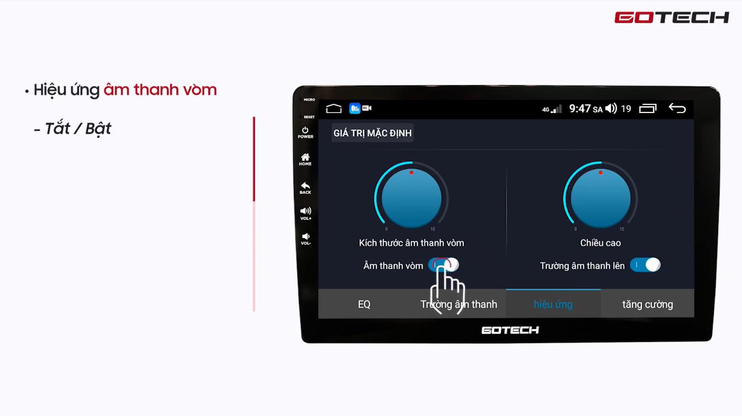 Hướng dẫn hiệu chỉnh Equalizer trên màn hình Gotech