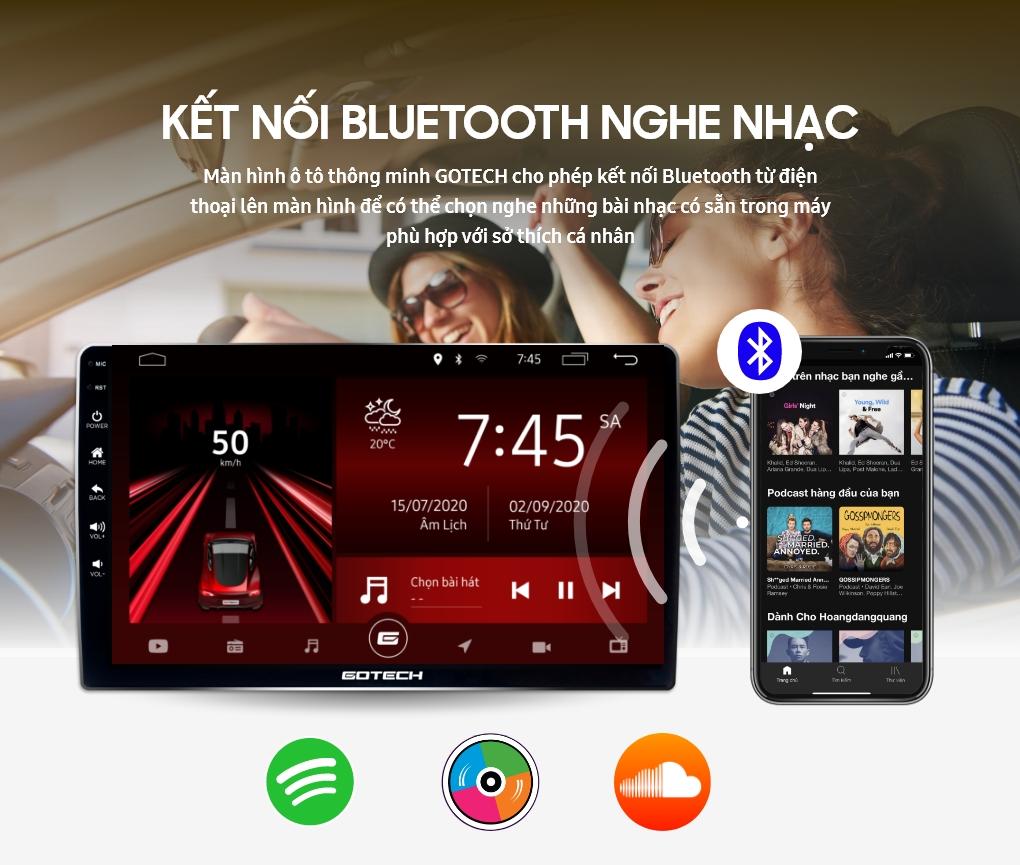 Kết nối Bluetooth để nghe nhạc trên màn hình GOTECH