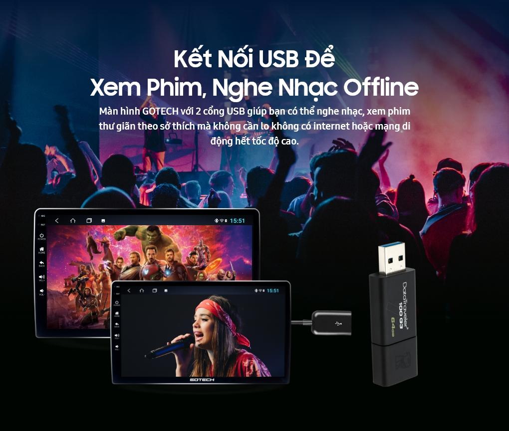 Kết nối USB để nghe nhạc, xem phim trên màn hình GOTECH
