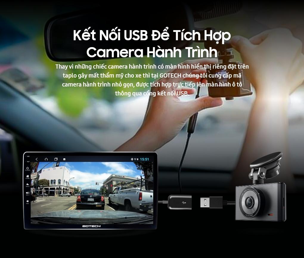 Kết nối USB để tích hợp camera hành trình trên màn hình GOTECH