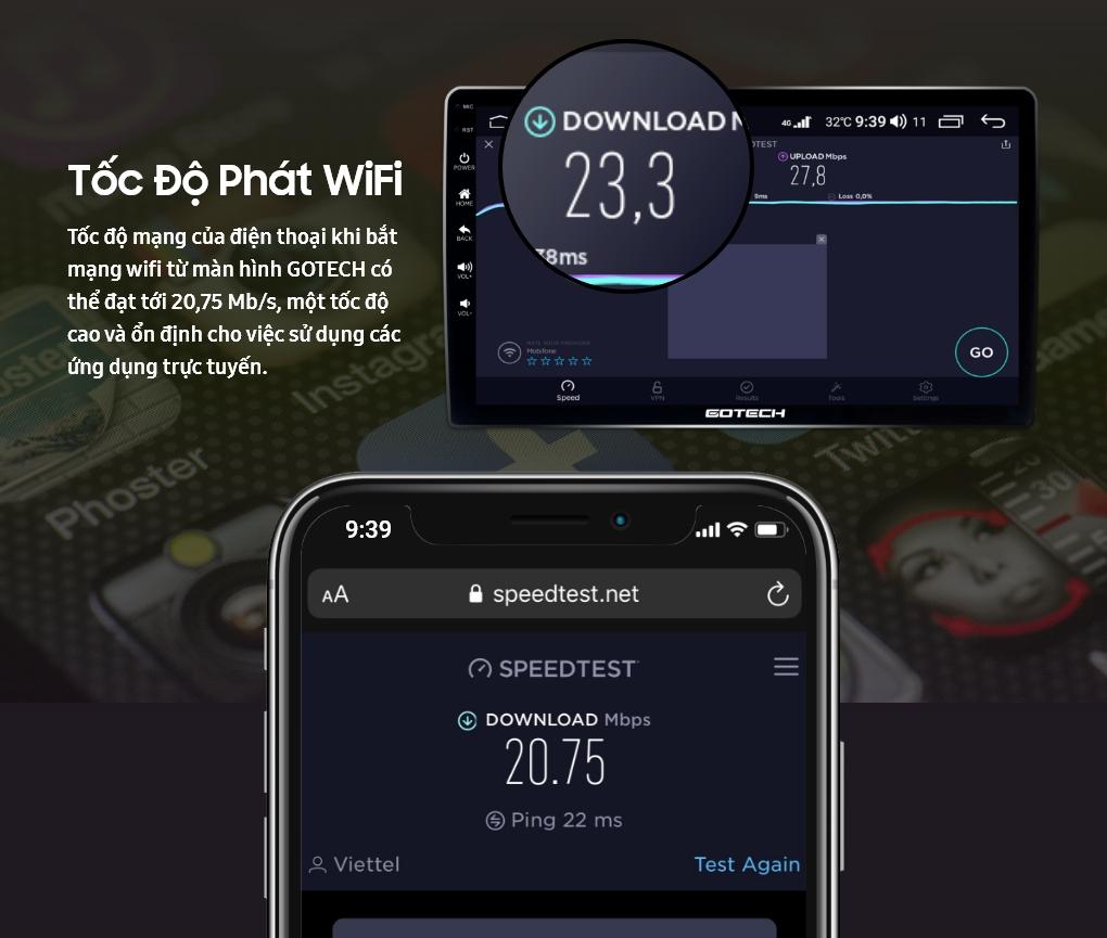 Kiểm tra tốc độ mạng của điện thoại khi kết nối wifi trên màn hình ô tô thông minh GOTECH