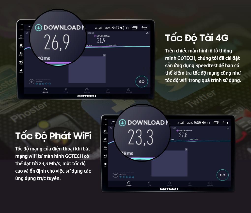 Kiểm tra tốc độ mạng khi sử dụng internet 4G trên màn hình ô tô thông minh Gotech nhờ ứng dụng Speedtest