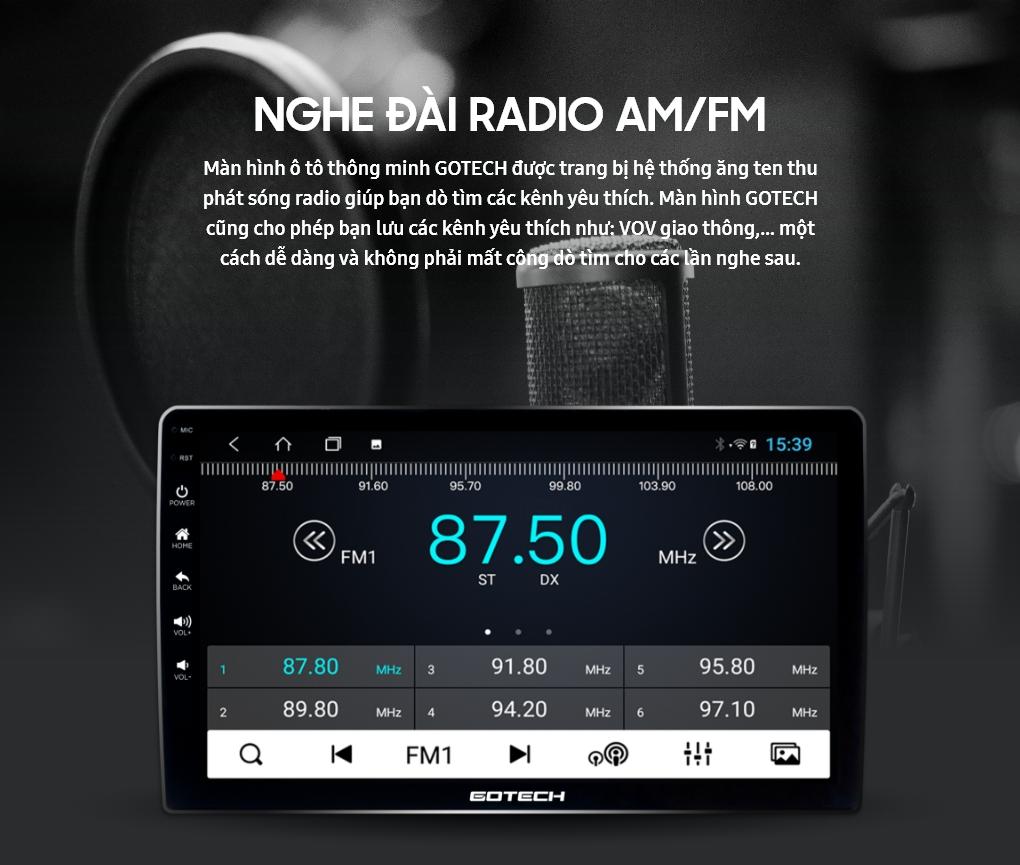 Nghe radio trực tiếp trên màn hình ô tô thông minh GOTECH
