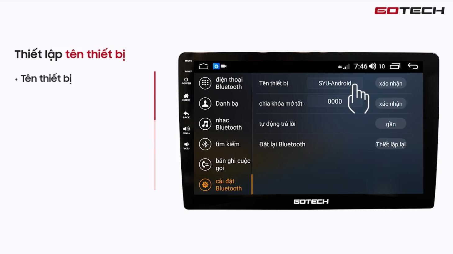 Hướng dẫn kết nối Bluetooth trên màn hình Gotech