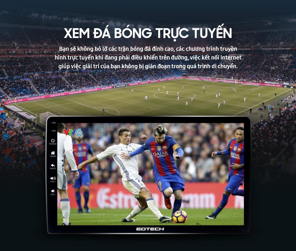 Xem các chương trình giải trí trực tuyến trên màn hình ô tô thông minh Gotech nhờ kết nối internet 4G