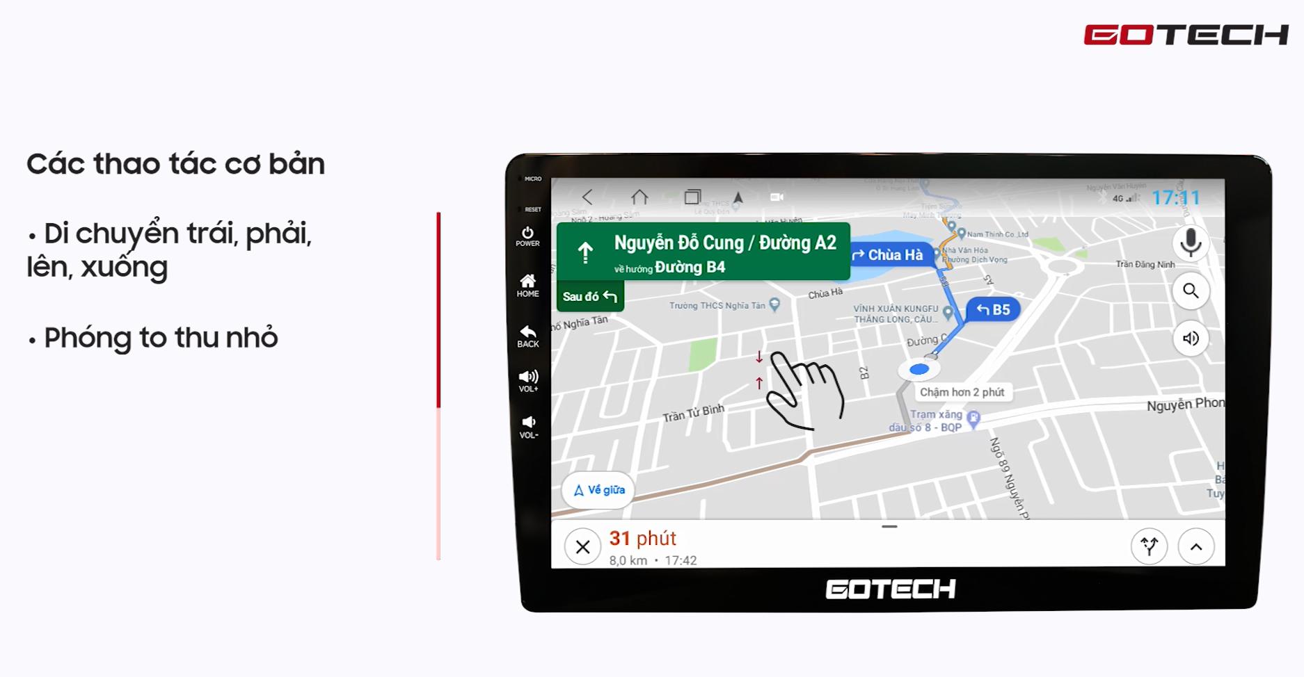 Hướng dẫn sử dụng Google Maps trên màn hình Gotech