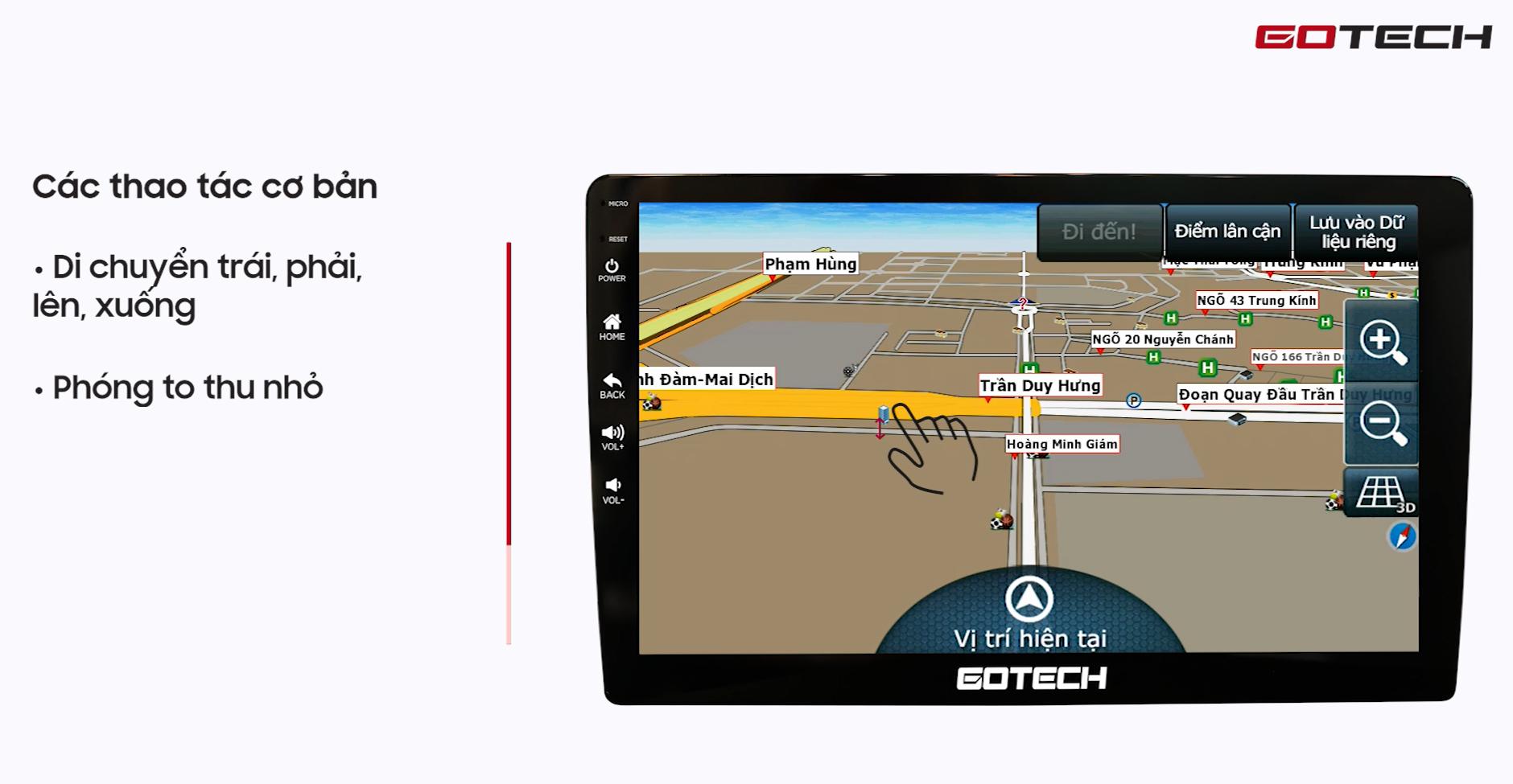 Hướng dẫn sử dụng Vietmap S1 trên màn hình Gotech