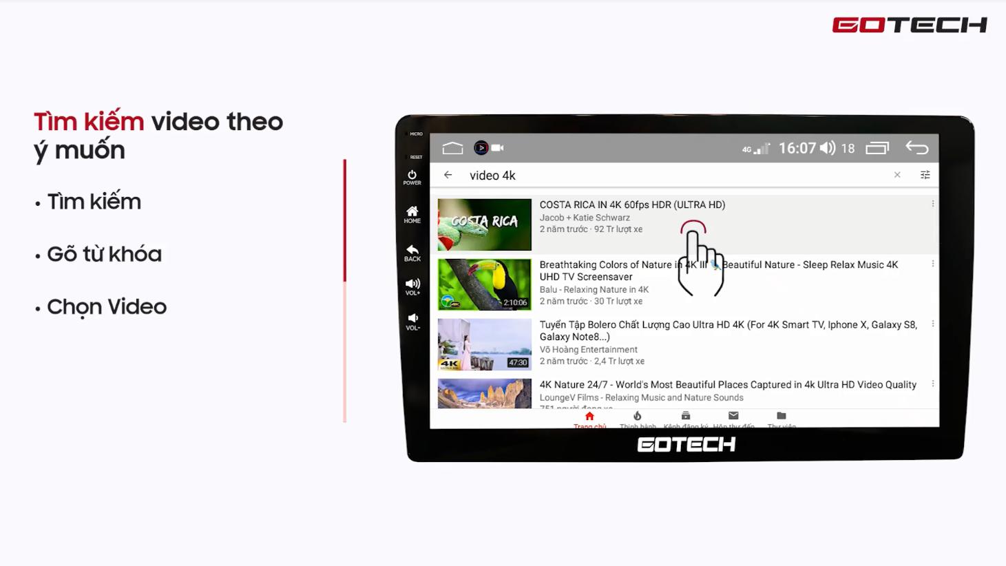 Hướng dẫn sử dụng youtube trên màn hình Gotech