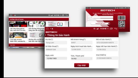 Tra cứu bảo hành điện tử trên màn hình ô tô GOTECH