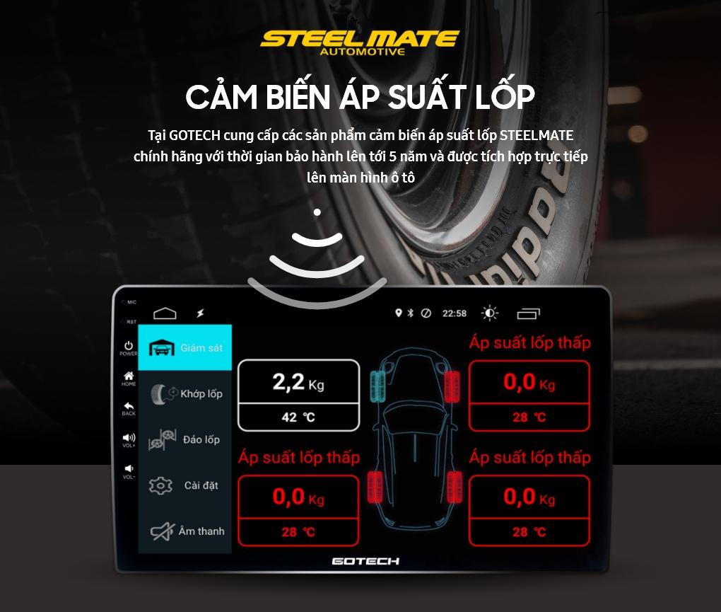 Cảm biến áp suất lốp được hiển thị lên màn hình GOTECH