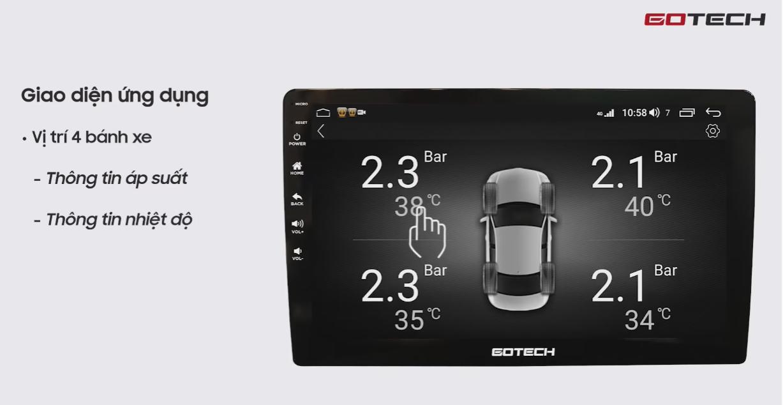 Hiển thị mô phỏng cảm biến áp suất lốp trên màn hình GOTECH