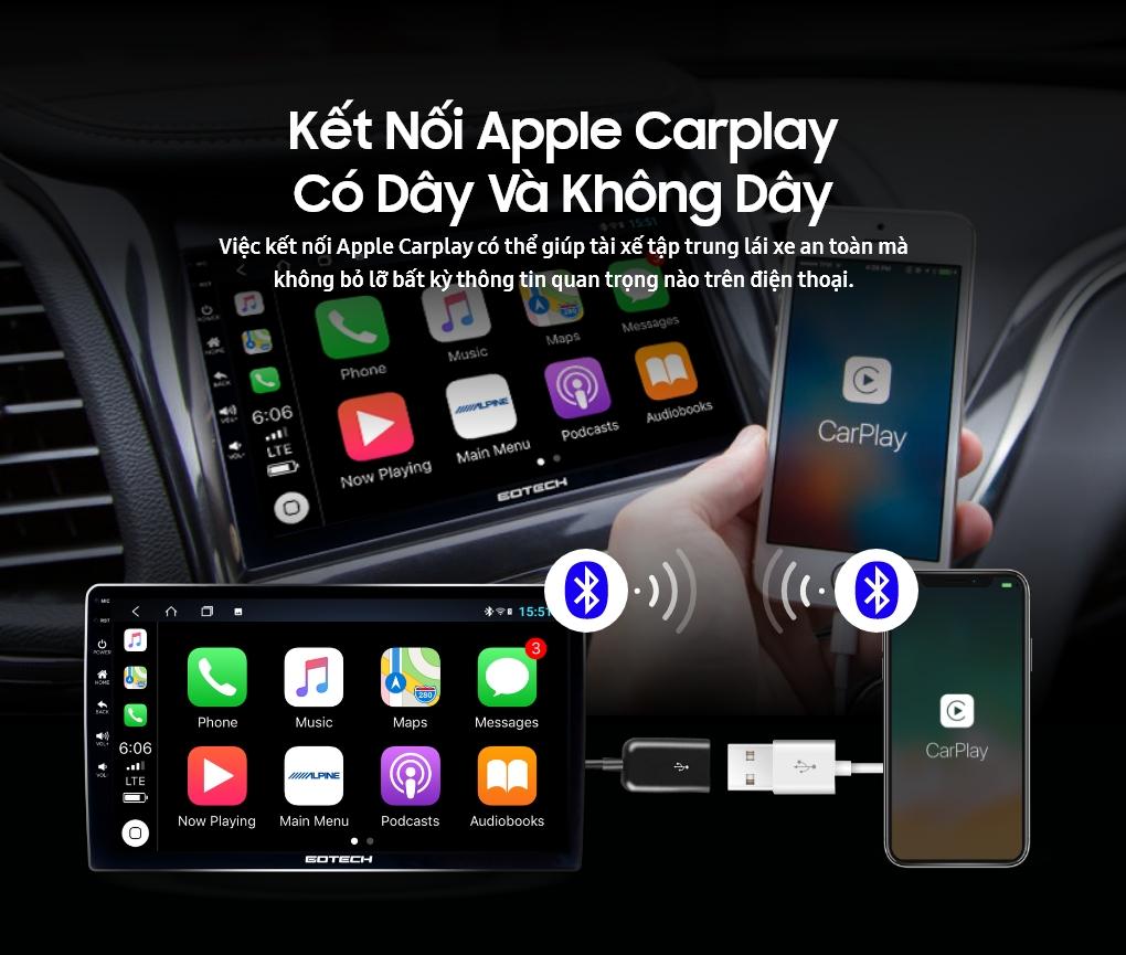 Màn hình Androi GOTECH kết nối Apple Carplay có và không dây