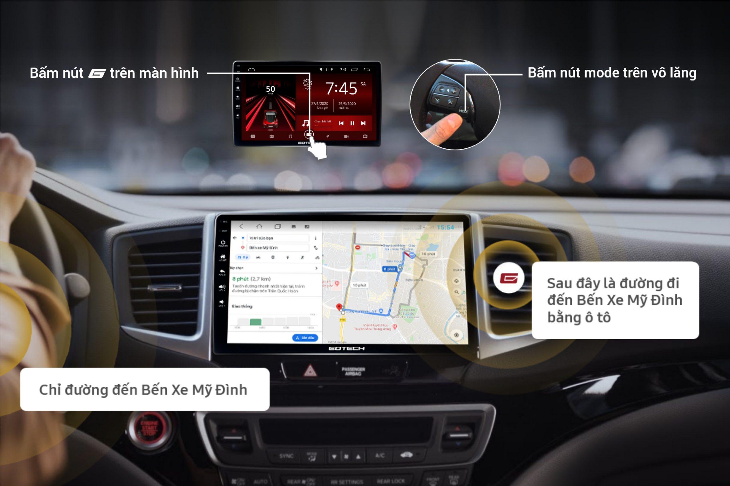 Ra lệnh giọng nói thông minh trên màn hình DVD Android GOTECH GT10 Pro