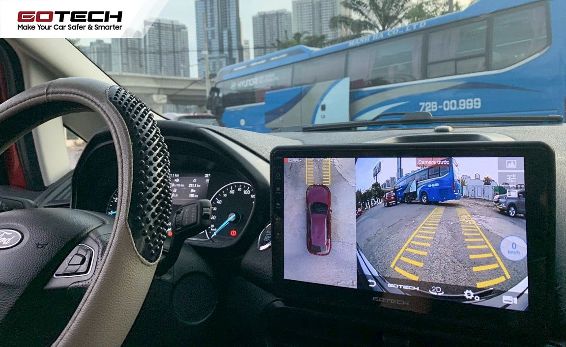 Màn hình ô tô liền camera 360 độ hỗ trợ quan sát toàn cảnh dễ dàng khi lái xe giờ tan tầm.