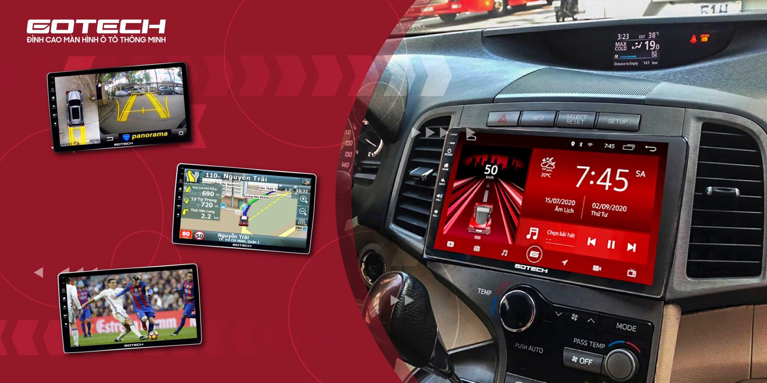 Màn hình ô tô thông minh tích hợp camera 360 độ GOTECH.