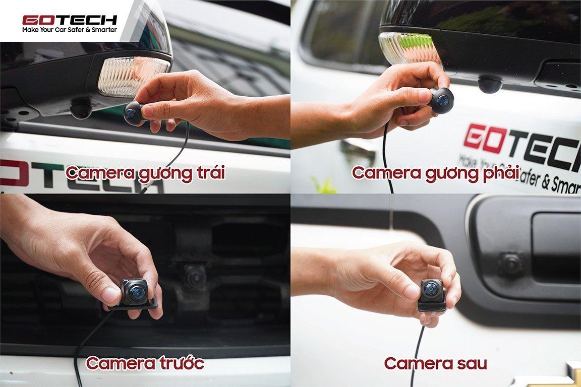 Hình ảnh 4 mắt camera 360 sau khi lắp trên ô tô.