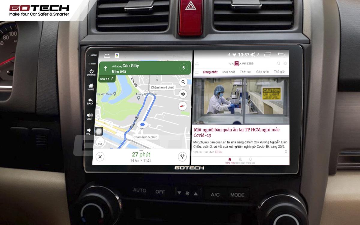 Chạy đa nhiệm ứng dụng mượt mà trên màn hình ô tô GOTECH cho xe Honda Crv 2007-2012