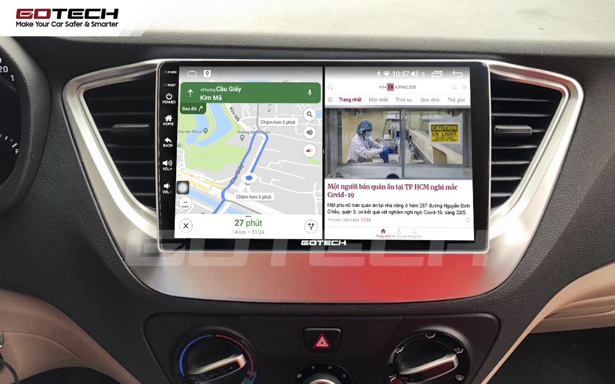 Chạy đa nhiệm ứng dụng mượt mà trên màn hình ô tô GOTECH cho xe Hyundai Accent 2018-2020