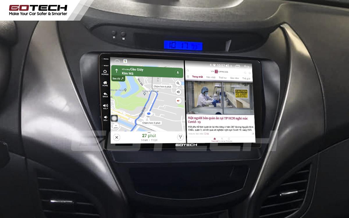 Chạy đa nhiệm ứng dụng mượt mà trên màn hình ô tô GOTECH cho xe Hyundai Elantra 2013-2015
