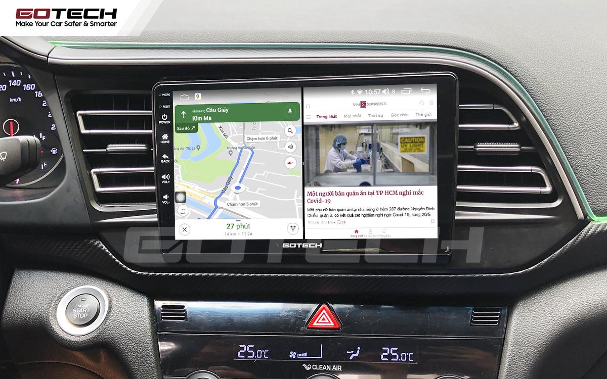 Chạy đa nhiệm ứng dụng mượt mà trên màn hình ô tô GOTECH cho xe Hyundai Elantra 2019-2020