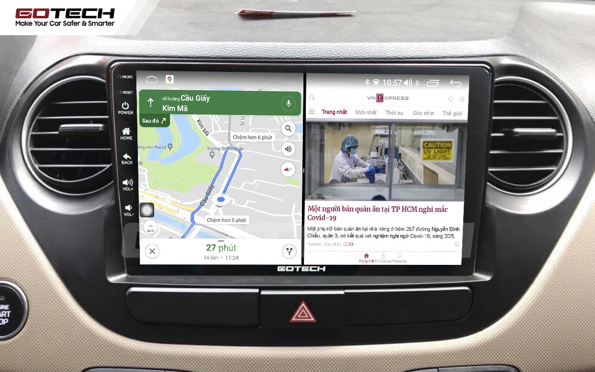Chạy đa nhiệm ứng dụng mượt mà trên màn hình ô tô GOTECH cho xe Hyundai i10 2014-2019