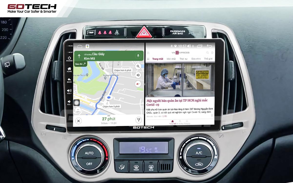Chạy đa nhiệm ứng dụng mượt mà trên màn hình ô tô GOTECH cho xe Hyundai i20 2013-2014