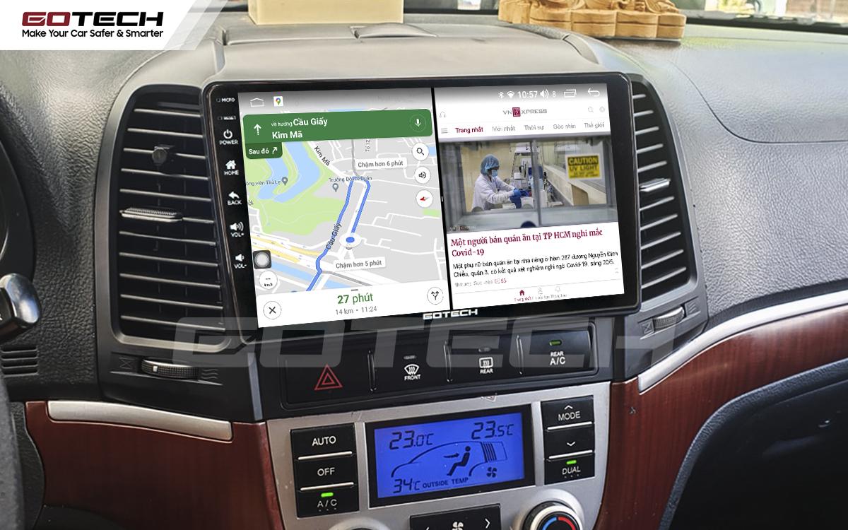Chạy đa nhiệm ứng dụng mượt mà trên màn hình ô tô GOTECH cho xe Hyundai Santafe 2006-2012
