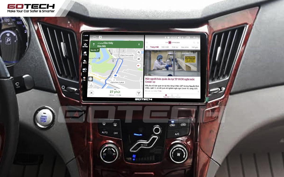 Chạy đa nhiệm ứng dụng mượt mà trên màn hình ô tô GOTECH cho xe Hyundai Sonata 2010-2013
