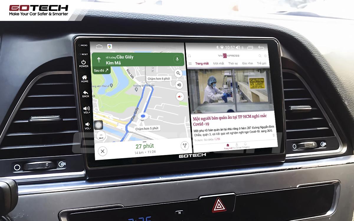 Chạy đa nhiệm ứng dụng mượt mà trên màn hình ô tô GOTECH cho xe Hyundai Sonata 2015-2018