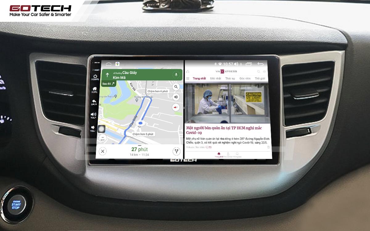 Chạy đa nhiệm ứng dụng mượt mà trên màn hình ô tô GOTECH cho xe Hyundai Tucson 2016-2018