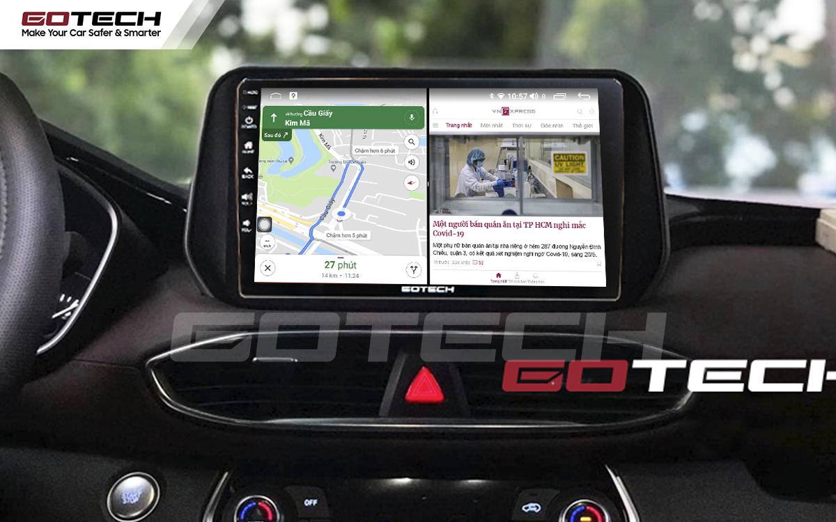 Chạy đa nhiệm ứng dụng mượt mà trên màn hình ô tô GOTECH cho xe Hyundai Tucson 2019-2020