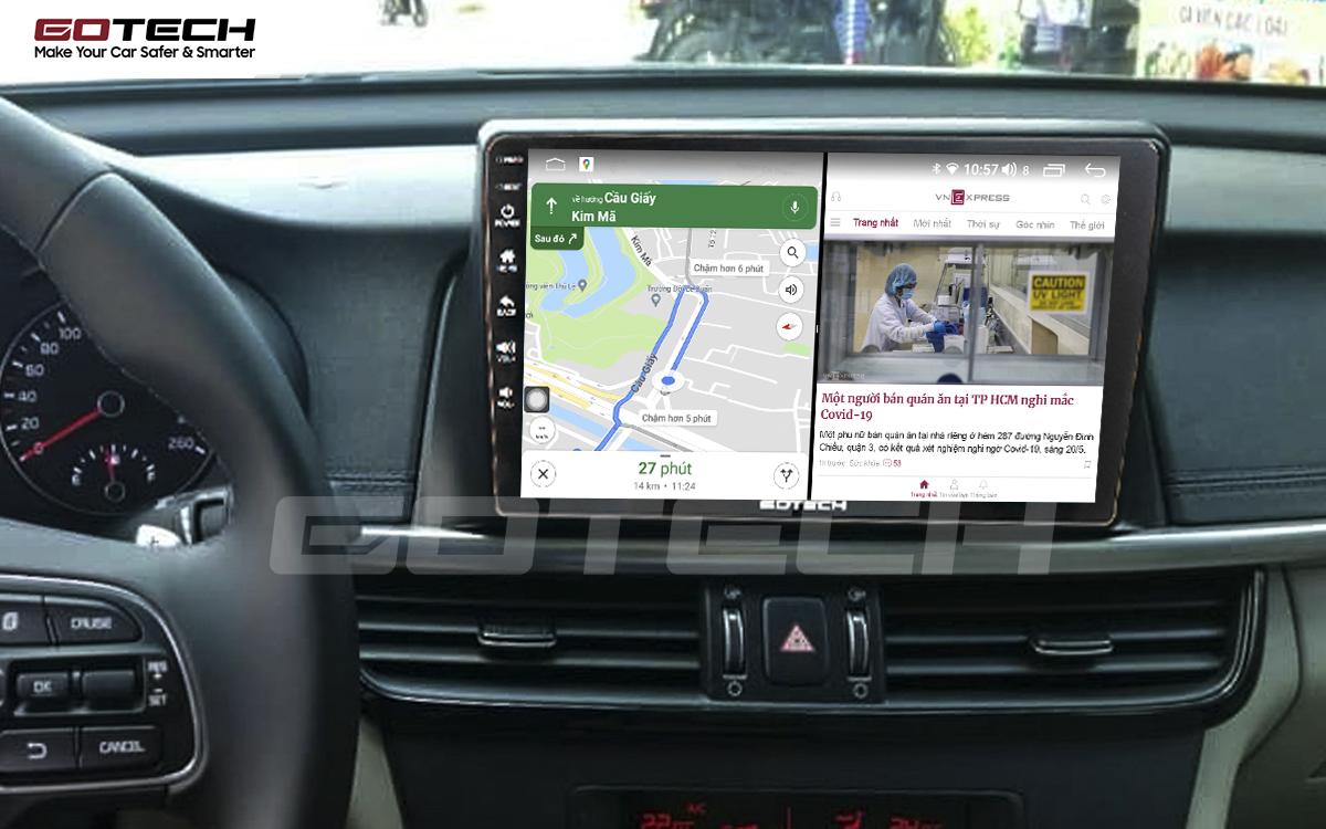 Chạy đa nhiệm ứng dụng mượt mà trên màn hình ô tô GOTECH cho xe Kia K5 Optima 2017-2020