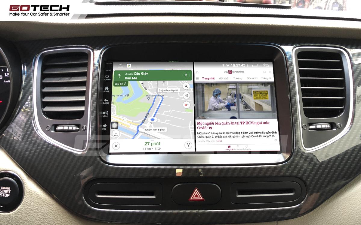 Chạy đa nhiệm ứng dụng mượt mà trên màn hình ô tô GOTECH cho xe Kia Rondo 2014-2020