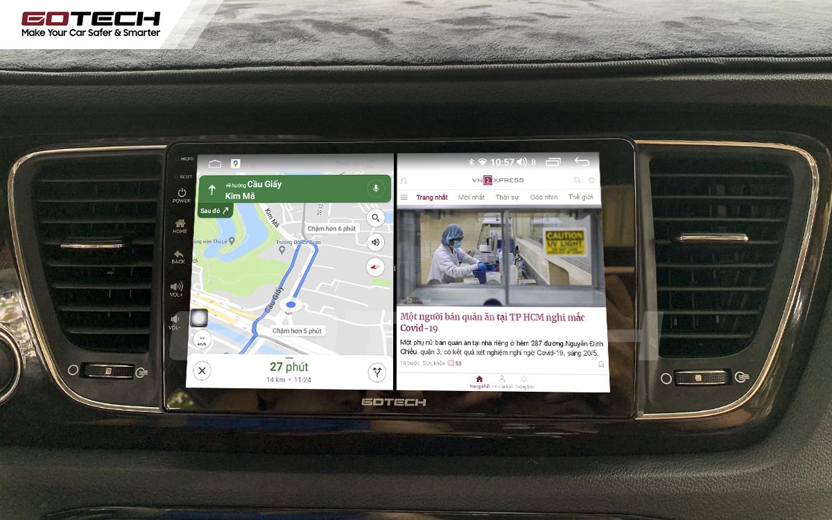 Chạy đa nhiệm ứng dụng mượt mà trên màn hình ô tô GOTECH cho xe Kia Sedona 2015-2020
