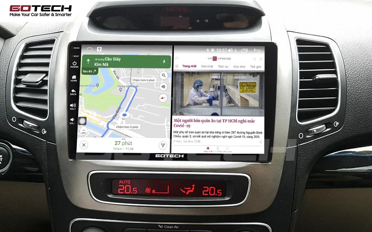Chạy đa nhiệm ứng dụng mượt mà trên màn hình ô tô GOTECH cho xe Kia Sorento 2014-2020