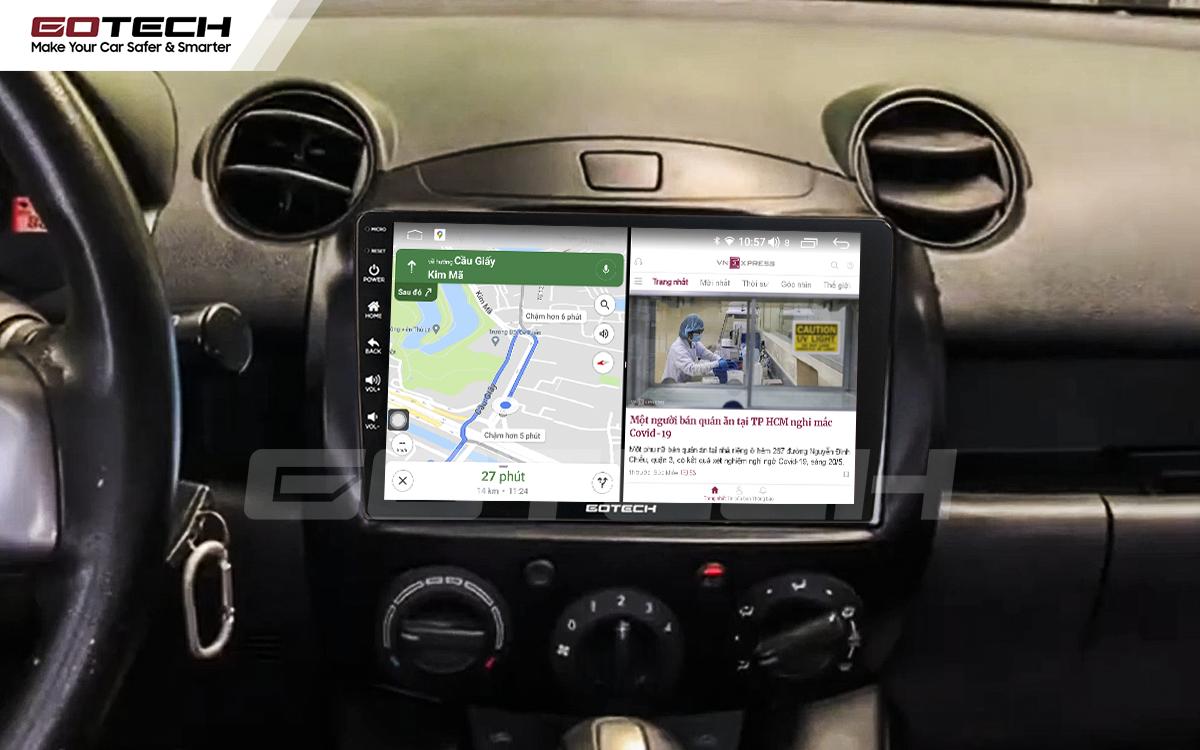 Chạy đa nhiệm ứng dụng mượt mà trên màn hình ô tô GOTECH cho xe Mazda 2 2012-2013