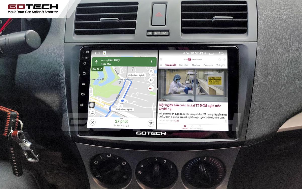 Chạy đa nhiệm ứng dụng mượt mà trên màn hình ô tô GOTECH cho xe Mazda 3 2010-2013