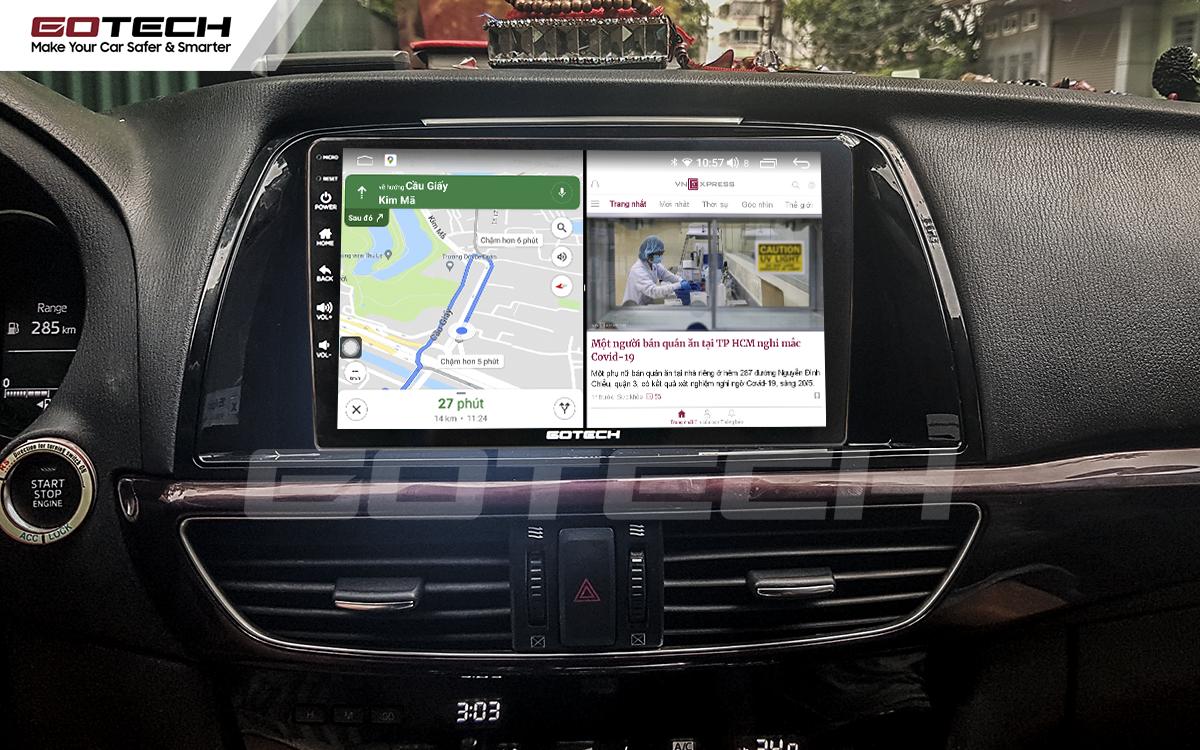 Chạy đa nhiệm ứng dụng mượt mà trên màn hình ô tô GOTECH cho xe Mazda 6 2014-2016