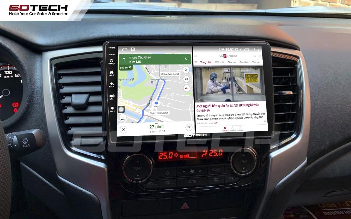 Chạy đa nhiệm ứng dụng mượt mà trên màn hình ô tô GOTECH cho xe Mitsubishi Pajero Sport 2018-2019