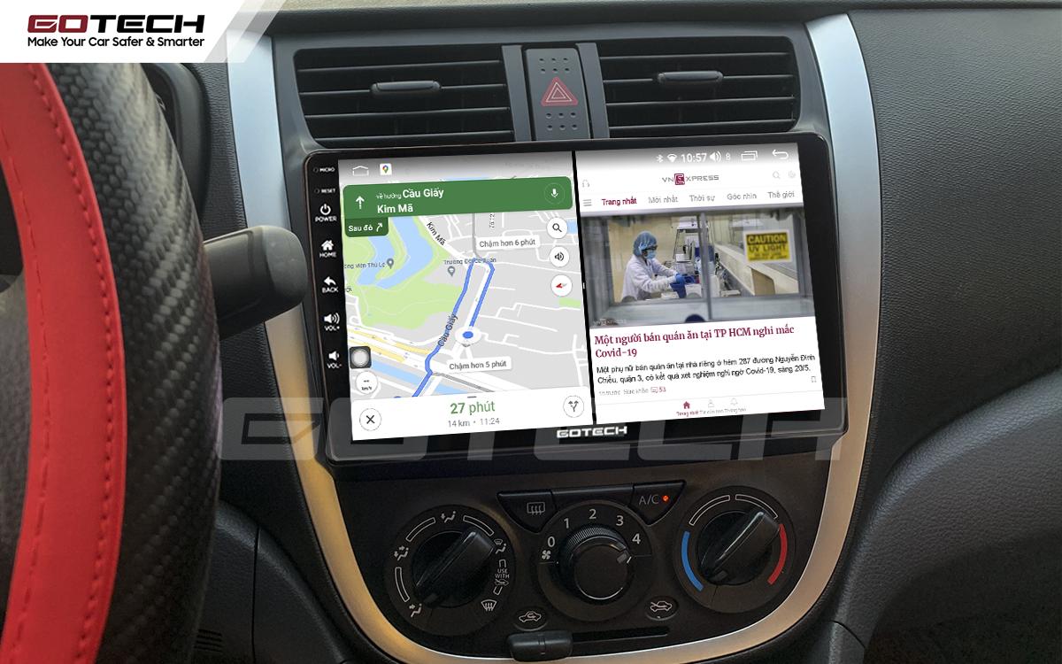 Chạy đa nhiệm ứng dụng mượt mà trên màn hình ô tô GOTECH cho xe Suzuki Celerio 2018-2020