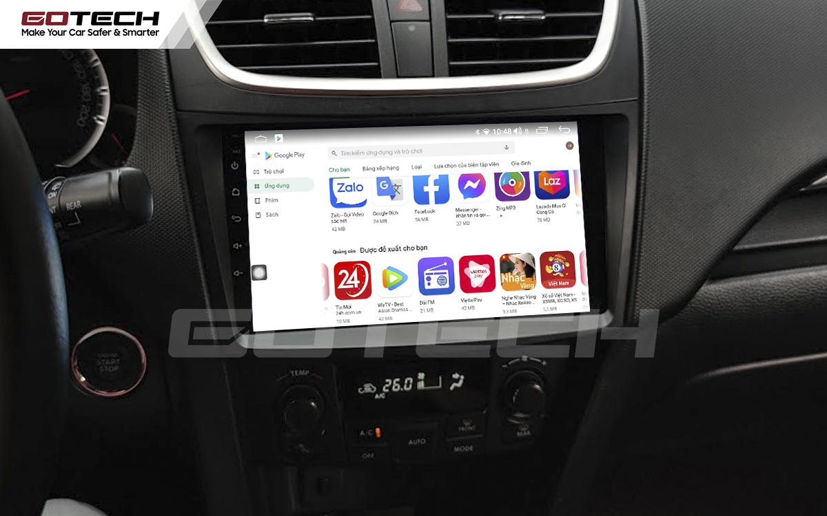 Giải trí đa phương tiện trên màn hình ô tô thông minh GOTECH cho xe Suzuki Swift 2013-2017