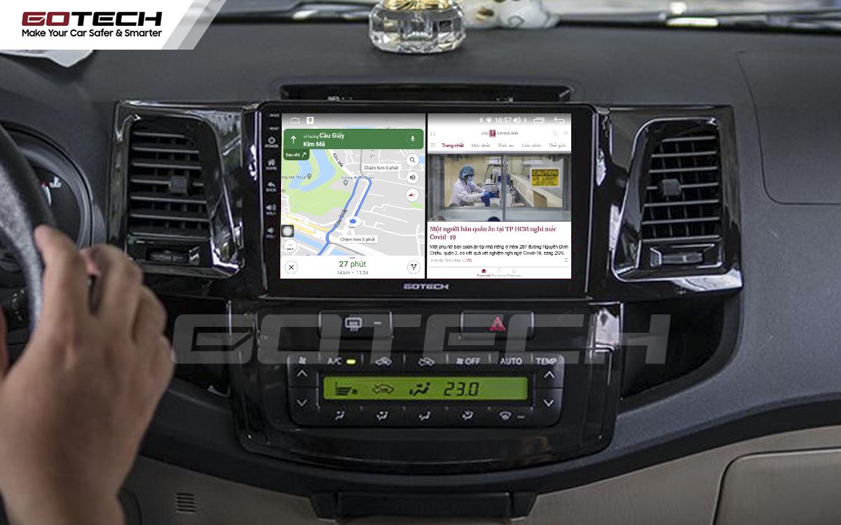Chạy đa nhiệm ứng dụng mượt mà trên màn hình ô tô GOTECH cho xe Toyota Fortuner 2006-2016