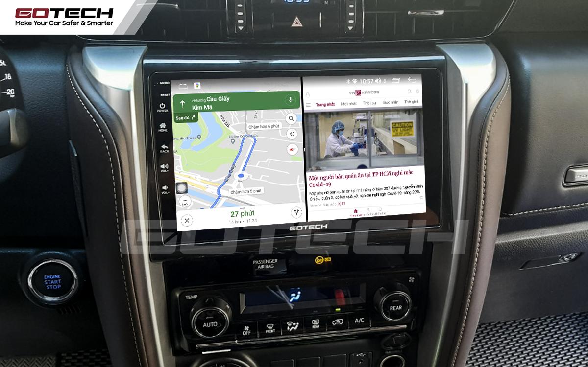 Chạy đa nhiệm ứng dụng mượt mà trên màn hình ô tô GOTECH cho xe Toyota Fortuner 2017-2020