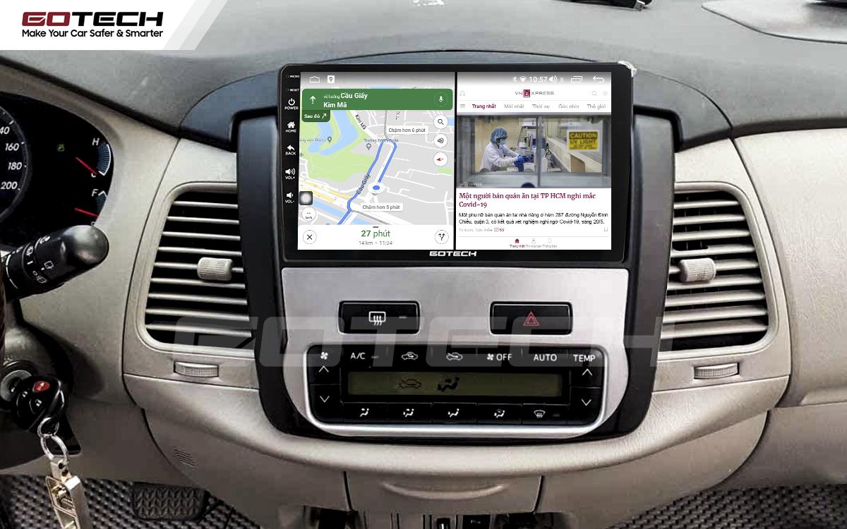Chạy đa nhiệm ứng dụng mượt mà trên màn hình ô tô GOTECH cho xe Toyota Innova 2012-2016